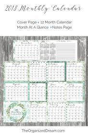 free printable 12 month calendar the organized dream free 2018 planners and 12 month calendar