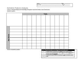Semantic Feature Analysis Worksheets Teaching Resources Tpt
