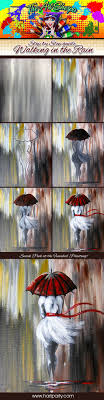 walking in the rain step by step canvas acrylic paint in the colors