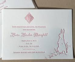 Printed Birth Announcement Letterpress Printed Bunny Themed Baby Announcement Paper Monkey Press