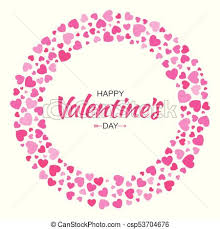 Valentines Day Card Design Love Circle Frame From Pattern Gentle Pink Hearts Isolated On White Background Backdrop Border For Wedding Invitation