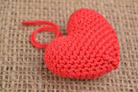 interior pendants handmade decorative wall hanging heart crocheted of red cotton threads madeheart com