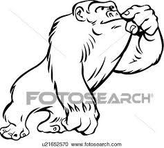 動物 猿 ゴリラ 漫画 クリップアート切り張りイラスト絵画集