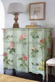 mint green floral dresser painted furniture