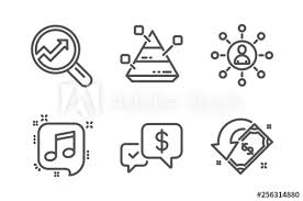 Stroke Communication Chart Analytics Networking And Musical Note Icons Simple Set