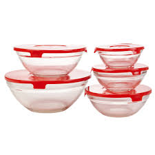 set of five storage glass serving mixing bowls containers with plastic lids food