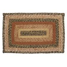 kettle grove jute braided area rug rectangle primitive black creme tan 20x30 vhc