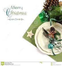 Christmas Holiday Green Theme Table Place Setting Stock