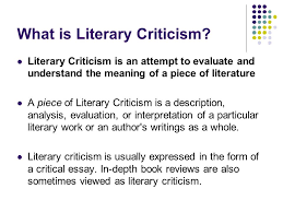 introduction to literary criticism part one goals define  2 what