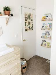 baby bedroom simplicity natural wonder woodland nursery theme plants picture stucks bookshelves rattan hamper wood crib