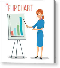 Flip Chart Presentation Concept Vector Woman Showing Strategy Presentation Training Conference Meeting Flat Cartoon Isolated Illustration Business