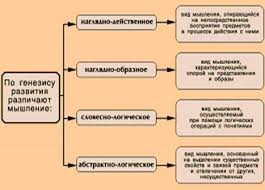 Курсовая работа Основные виды мышления ru Схема классификации видов мышления по генезису развития
