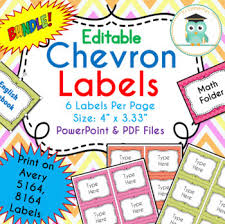 Avery 5164 Labels Bundle Chevron Labels Editable Classroom Notebook Folder Name Tags Avery 5164