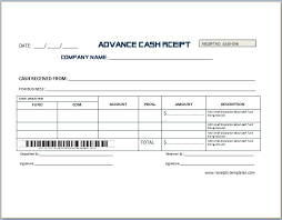 Sample Advance Receipt Template Receipt Templates