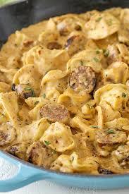 sausage tortellini alfredo easy pasta