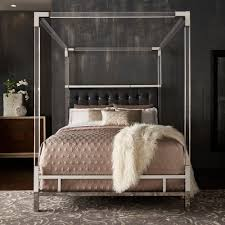 Shop Reid Acrylic and Chrome Canopy Bed with Tufted Headboard by ...