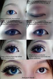 cosplay eye makeup tutorial by wenqiann on deviantart i don t do cosplay but there s some cues on how to make eyes look bigger the half black half white