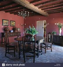 Country Dining Room Antique Oak Table And Chairs In Red Country Dining Room With Brick