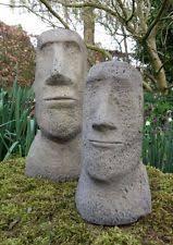 garden figures. STONE GARDEN PAIR OF MOAI EASTER ISLAND HEAD TIKI ORNAMENTS STATUES Garden Figures