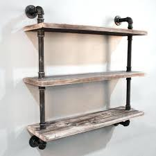 3 level rustic industrial timber pipe shelf 92cm wall h m s remaining industrial wall shelf unit diy industrial wall shelves