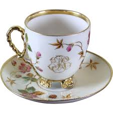 Decorative Cups And Saucers Collector's Tea Cup Saucer Gold Rim Floral Decoration with 71