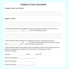 Company Loan To Employee Agreement Staff Loan Agreement Template Bettylin Co