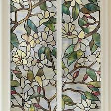 privacy security diy magnolia static cling stained glass window