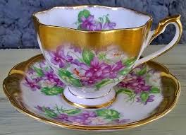 Decorative Cups And Saucers Queen Anne heavy gold violets tea cup and saucer set Antiques 33