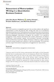 Business Memorandum Examples Pdf Assessment Of Memorandum Writing In A Quantitative