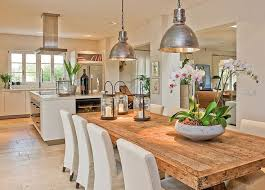 kitchen dining lighting. dining room and kitchen space open plan love that rustic wood table lighting a