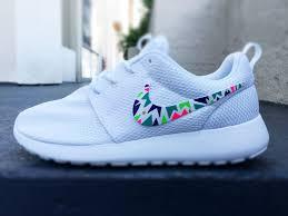 Nike Roshe Run Cool Designs Custom Nike Roshe Run Sneakers For Women Lime Purple