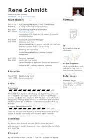 Purchasing Manager, Event Coordinator Resume samples