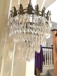 antique crystal cut glass waterfall icicle crystal chandelier electric