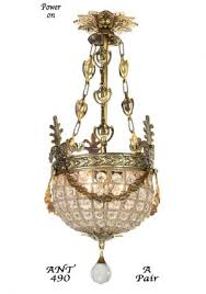pair of vintage european victorian basket style crystal ball chandeliers ant 490