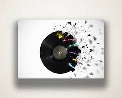 zoom on wall art vinyl records with exploding record canvas art print music wall art vinyl