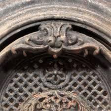 magnificent antique cast iron arched fireplace cover surround fleur de lis c 1900 s preservation station nashville tn