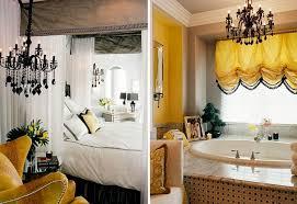 view in gallery using black chandelier as bedside lighting and bathroom lighting