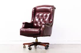 vintage office chair. Vintage Burgundy Leather Chesterfield Style Office Chair N