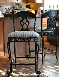 transform kitchen chairs with spray paint and a little fabric throughout fabric kitchen chairs