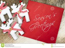 Seasons Greetings Text Written On Red Card Stock Image Image Of