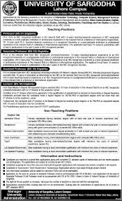 jobs in university of sargodha lahore campus jobs in university of sargodha lahore campus jobs in as professor associate professor assistant professor lecturer admission officer receptionist network