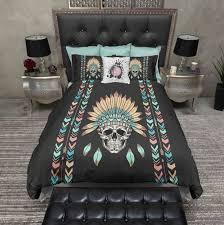 stylish lightweight arrow and indian headdress skull bedding beautiful skull bedding sets decor