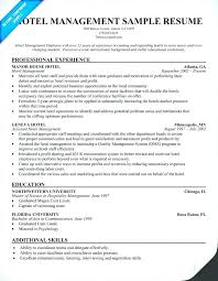 Hotel Management Resume Examples Format For Jobs Elegant Hospitality