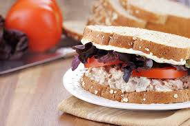 tuna salad sandwich on whole grain bread