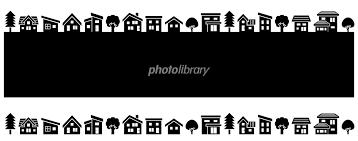 デフォルメした家と木の並び黒のシルエット イラスト素材 5115551