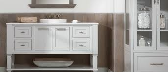 Image Custom Gray Painted Furniture Vanity And Standing Linen Cabinet From Dura Supremes New Bathroom Furniture Collection Or The Home Depot Bath Furniture Collection Custom Designed Furniture Vanities