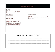 Hotel Receipt Receipt Forms Templates Hotel Receipt Template Word Sample