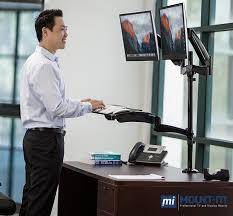 com mount it sit stand desk mount workstation height adjule standing desk ergonomic dual monitor and keyboard mount 22 23 24