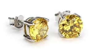 diamond shaped earrings for men canary yellow round studs earring cubic zirconia