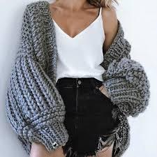 Chic Autumn Hand Knit <b>Sweater Coarse</b> Wool V Neck Lazy <b>Rough</b> ...